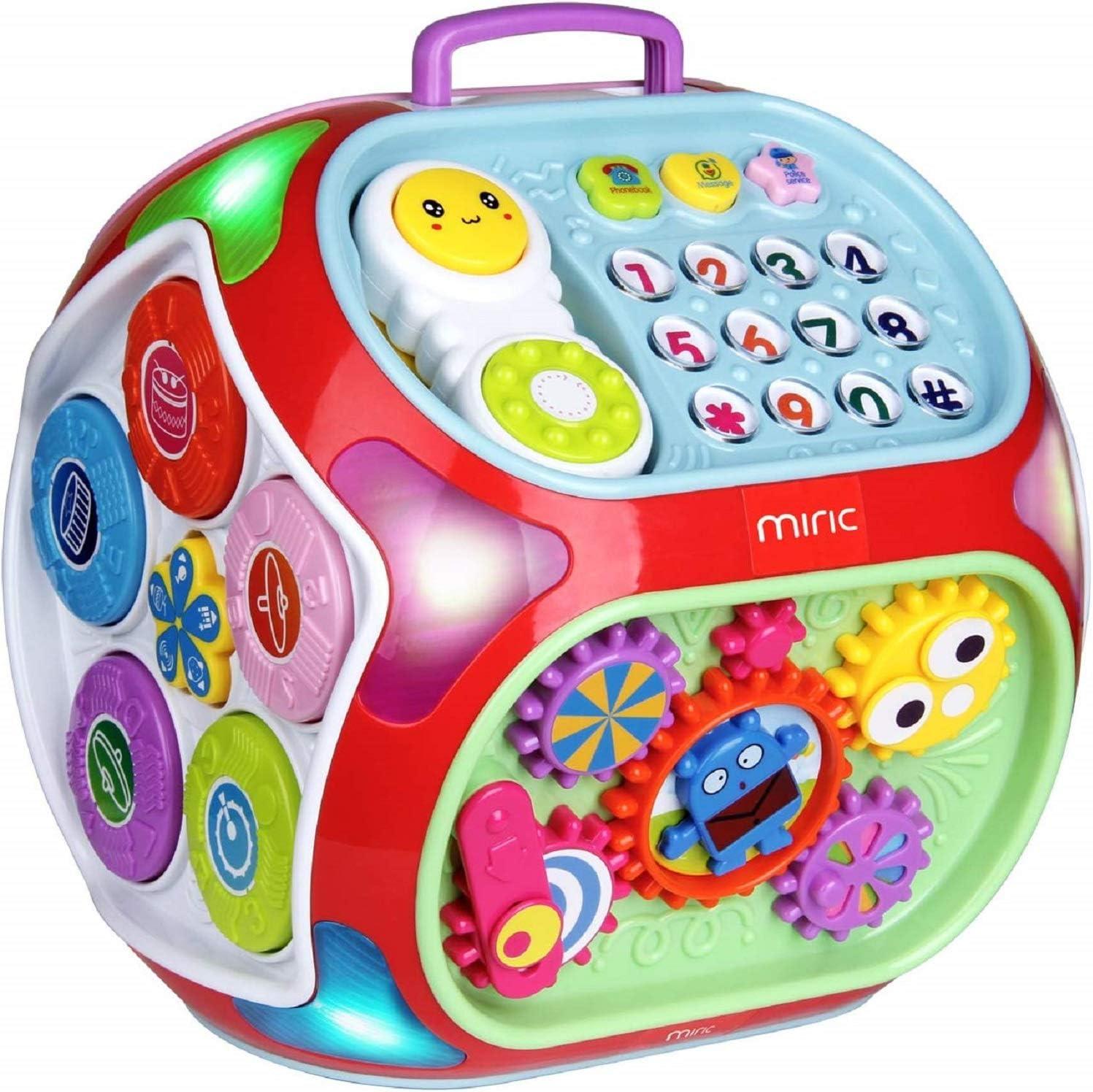 Miric - 7 en 1 Música Cubo de Actividades Juguetes Bebes 1 Año con Sonido, Dados de Aprendizaje de Rompecabezas, Juguetes Educativos de Aprendizaje Electrónico Regalo para Bebés Niños