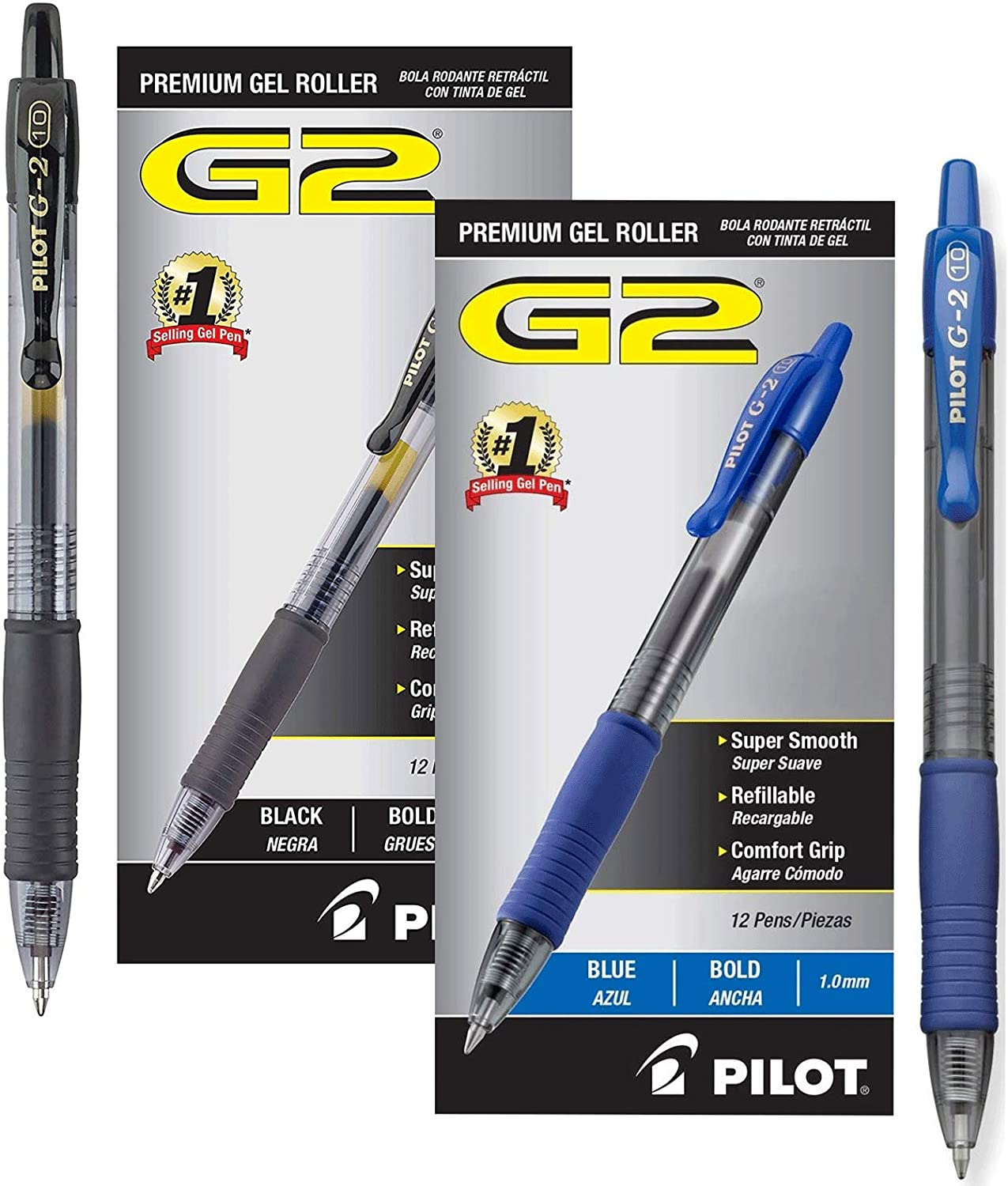Premium Refillable /& Retractable Rolling Ball Gel Pens Bold Point Black Ink 12 Count