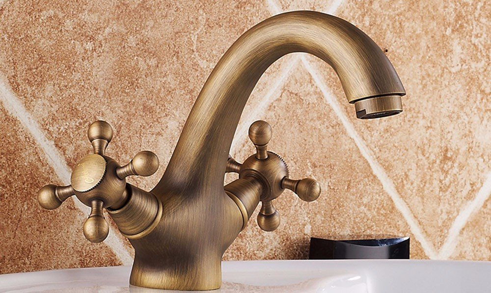 AWXJX European style retro style copper hot and cold Single Hole washing the face Sink mixer