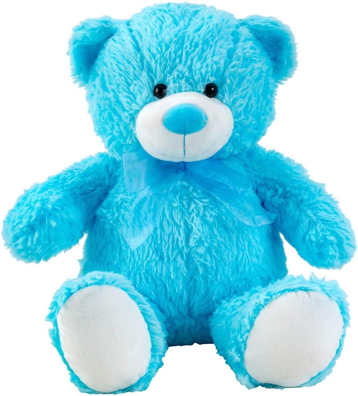 Lifestyle & More Oso de Peluche Azul con Lazo de 50 cm de Altura Peluche Oso Aterciopelado Suave - para amar