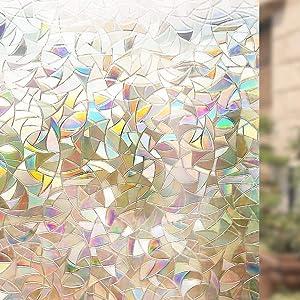 Bloss 3D Window Film No Glue Static Cling Decorative Privacy Glass Rainbow Window Films Self Adhesive Removable Heat Control Anti UV 17.7