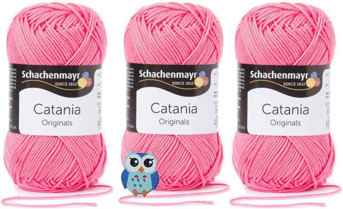 Farbreihe 200-299 Schachenmayr Catania Wolle 3x50 Gr 100/% Baumwolle 1 Eulen Knopf 201 Royalblau