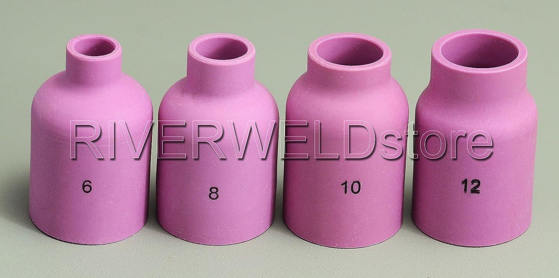 Grand diam/ètre Buse en aluminium Gas Lens Collet Corps Pour WP 17 18 26 Tig pi/èces de soudage 12pcs