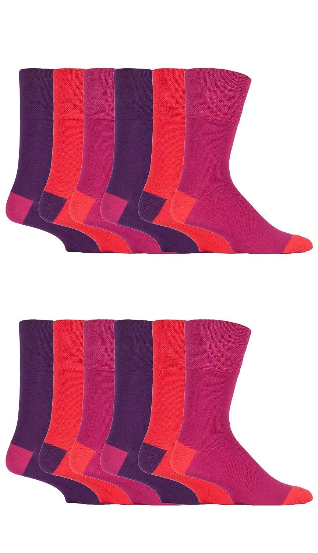 12 Pairs men's gentle grip no elastic socks 6-11 uk, 39-45 eur, Plain Colours