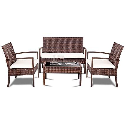 Shop Rattan Patio Furniture Set Sofa 4 PCS Cushioned Seat Wicker Outdoor