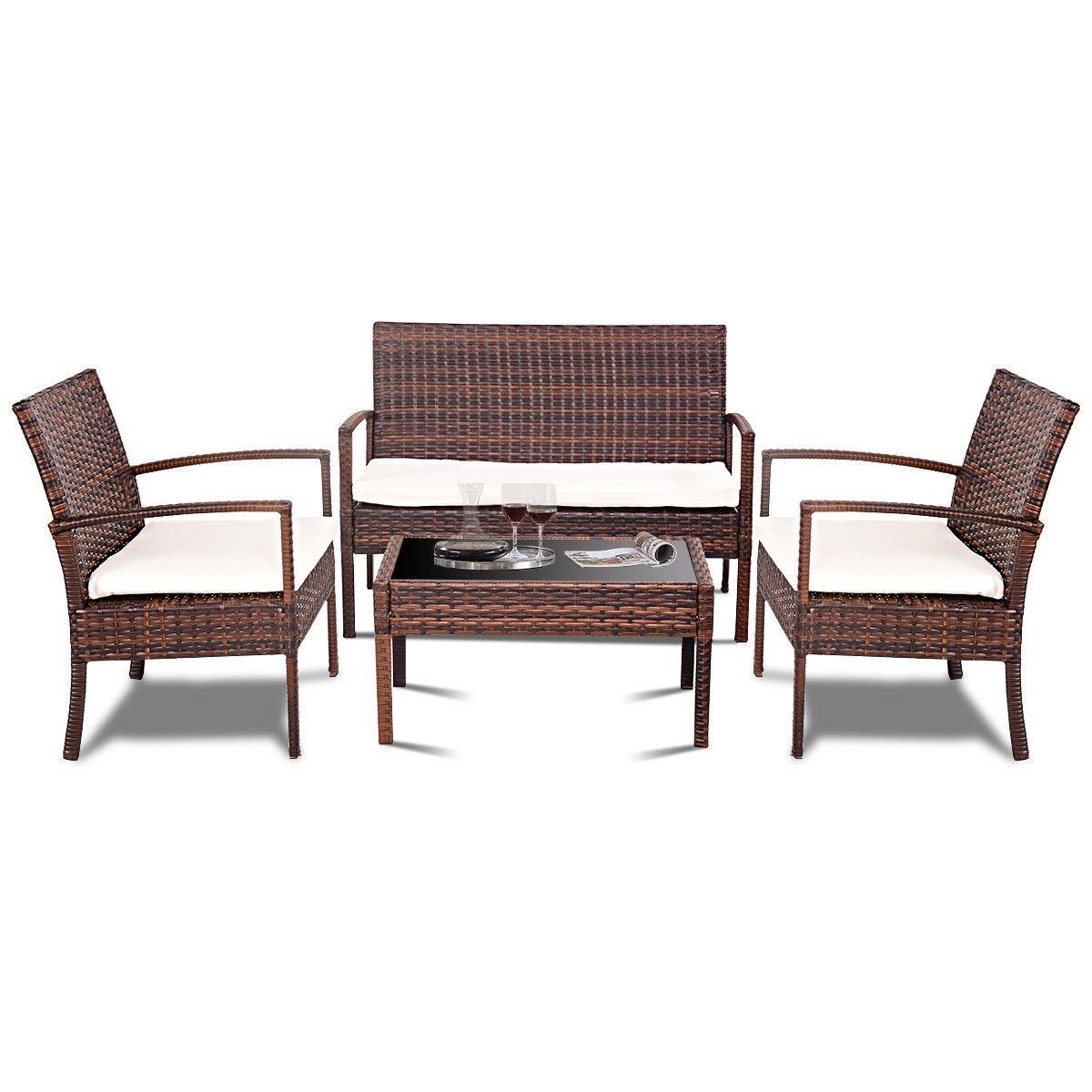 Rattan Patio Furniture Set 4 PC Steel, Rattan,Sponge Fashionable Style Modern Sofa Set Cushioned Seats