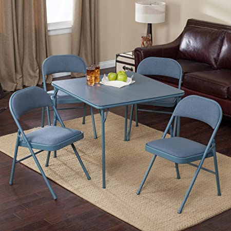 Meco Sudden Comfort Deluxe Double Padded Chair and Back- 5 Piece Card Table Set –