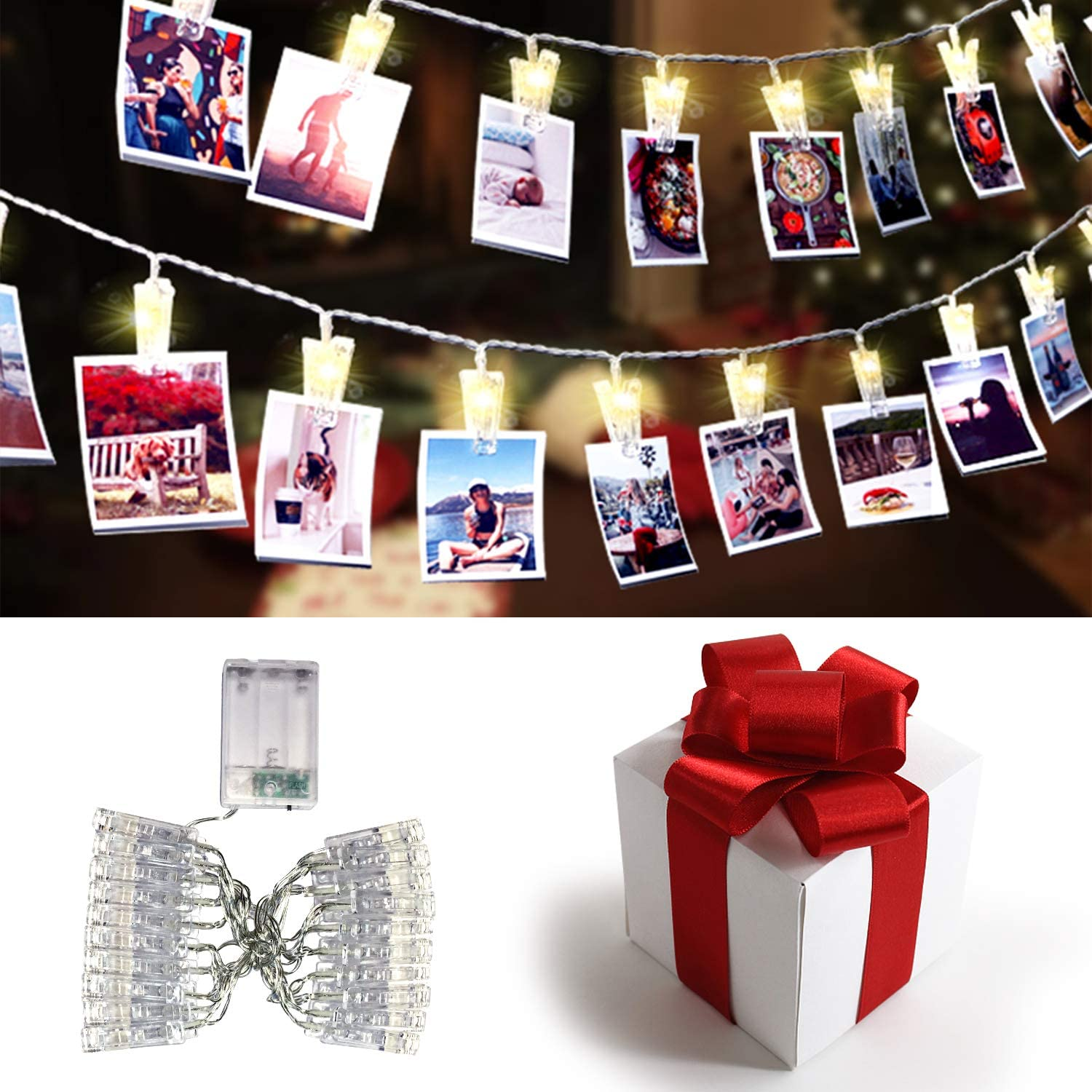 LED Photo Clip String Lights Holder - 20 LEDs 9.8Ft Battery Powered Fairy String Light Starry Twinkle Strand Lights Micro Leds for Hanging Pictures Christmas Cards, Home Indoor Outdoor Christmas Decor