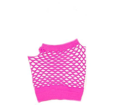 Short Fishnet Fingerless Gloves - Hot Pink