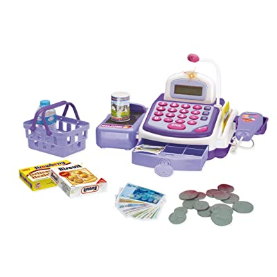 Call Us Toys@ The Best Activity Learning Family Battery Operated Electronic Cash Register Toy Pretend Play Microphone, Scanner, Money and Credit Card, Groceries with Sound Purple: Toys & Games