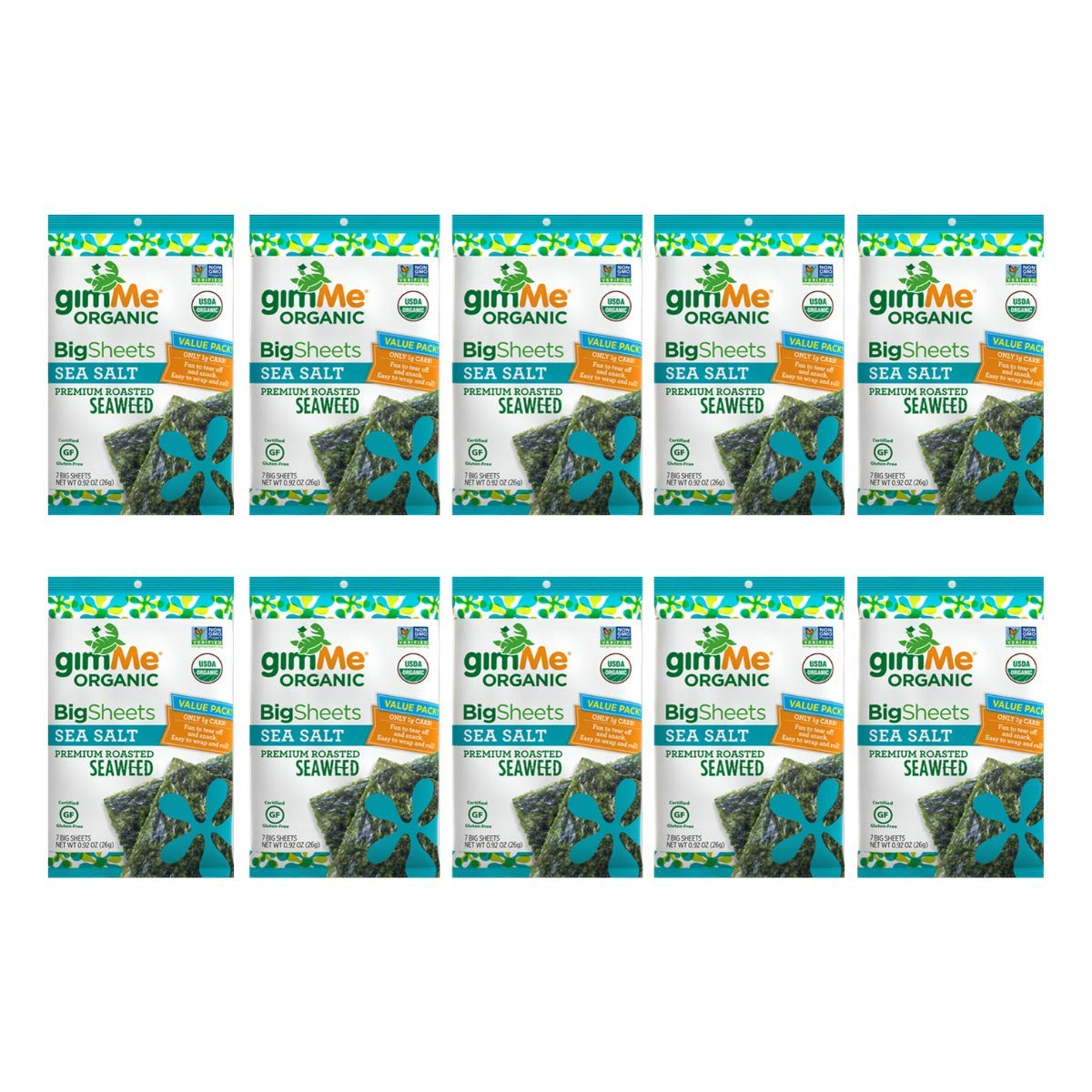 gimMe Snacks - Organic Roasted Seaweed - Sea Salt - (.92oz) - (Pack of 10) - non GMO, Gluten Free - Healthy on-the-go snack for kids & adults by gimMe