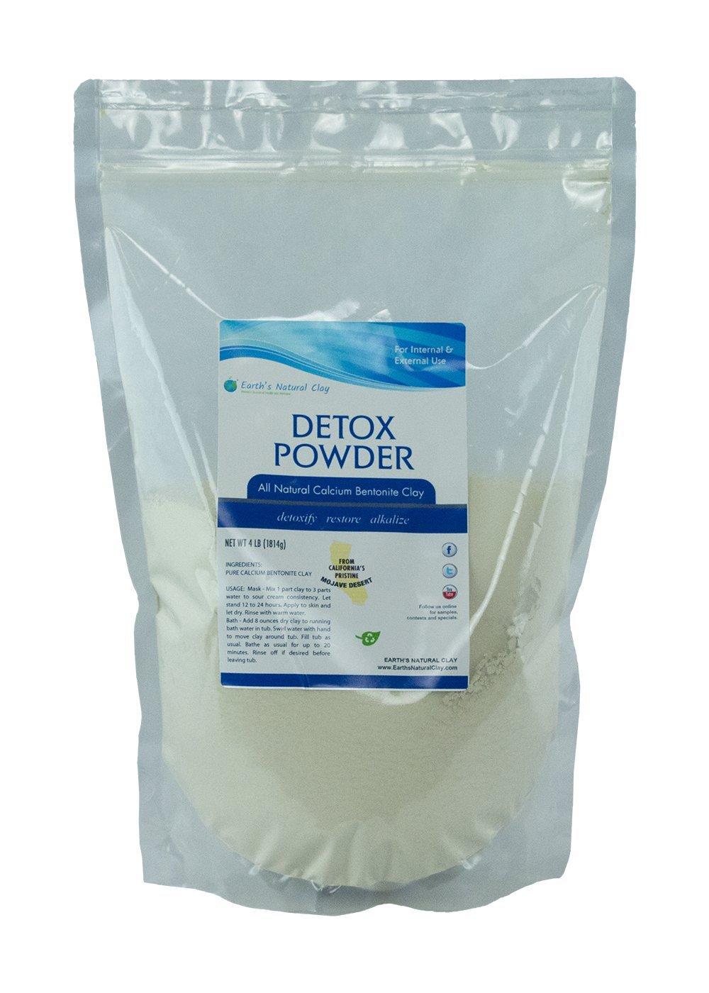 Calcium Bentonite Clay Powder | Food Grade Clay For Internal and External Use | 4 lbs (64 oz) | Pharmaceutical Grade Montmorillonite | Detox and Healing | by Earth's Natural