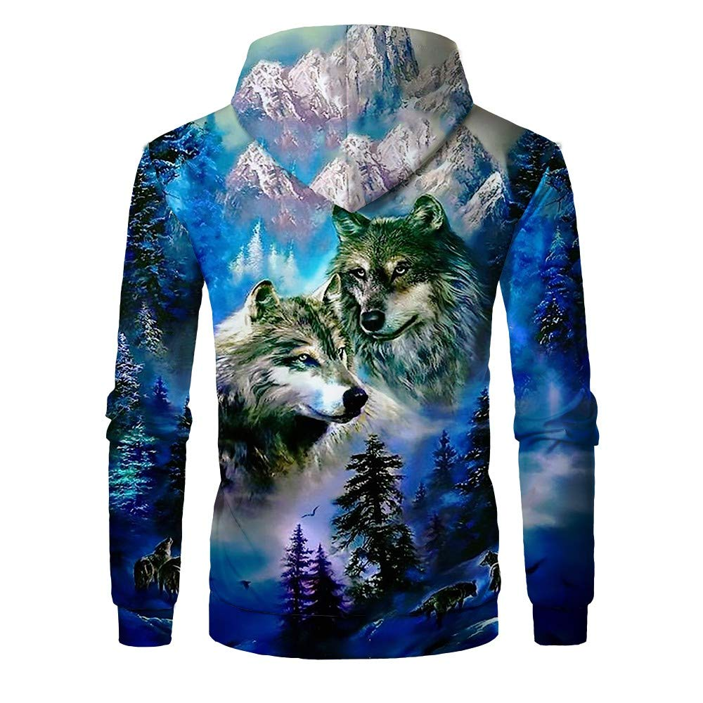 Sale Mens Athletic 3D Animal Cosmic Galaxy Printed Casual Fashion Sweatshirts Pullover FORUU 3D Hoodies Men Plus Size