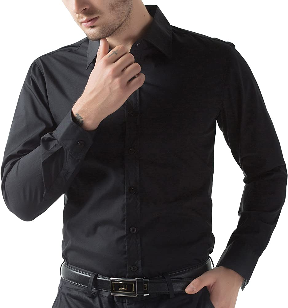 7e50964590c0c0 Black Slim Fit Dress Shirts for Men Long Sleeve 1044-1 3XL. Back.  Double-tap to zoom