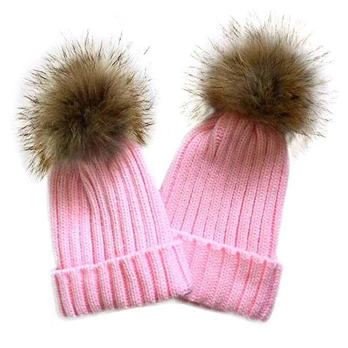 ff688ead53d 2PC Parent-Child Winter Real Raccoon Fur Pom Pom Knit Hat Stretchy Mother   Baby  Beanie Hat (Beige) at Amazon Women s Clothing store