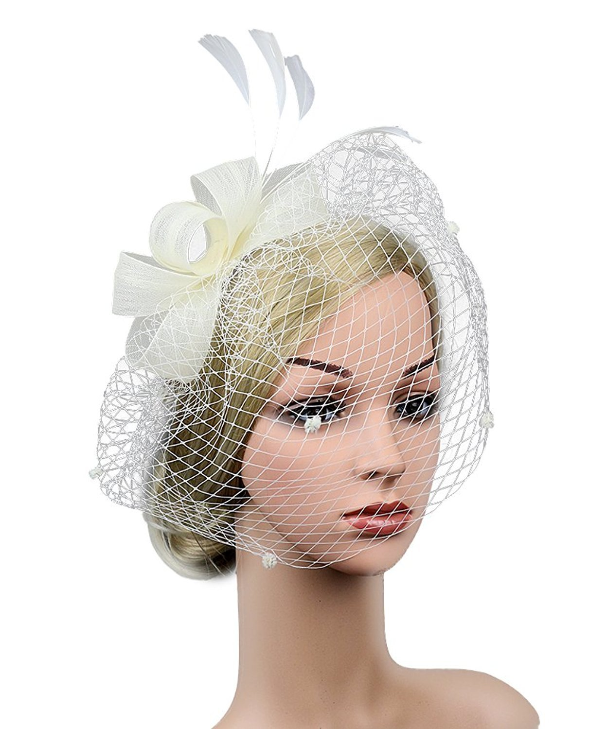 Merya Dress DotVeil Kentucky Derby Fascinator Hats Feather Prom Cocktail Tea Party Hats Pure White