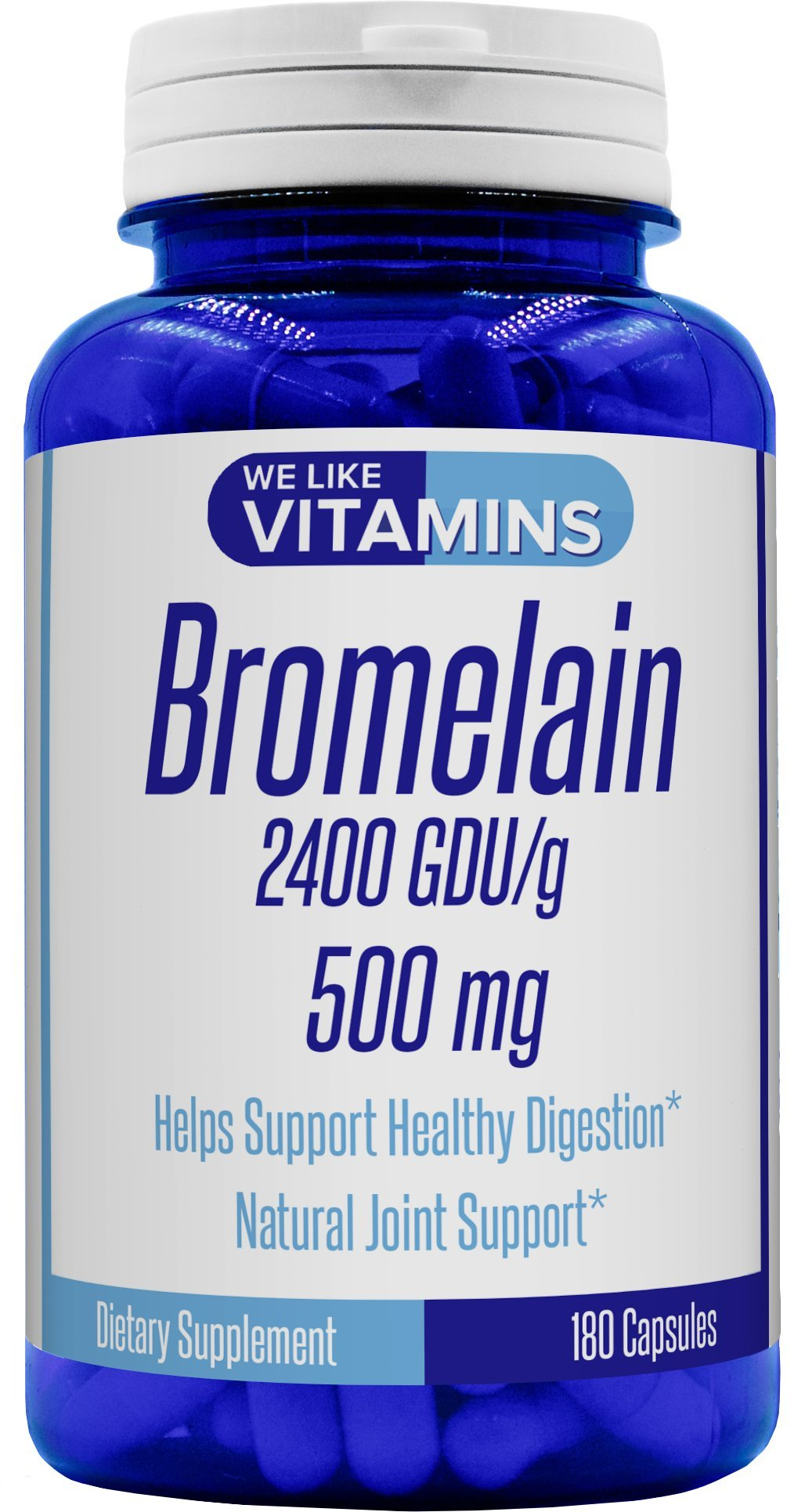 Bromelain 500mg - 180 Capsules - Best Value Bromelain Supplement on Amazon - Proteolytic Enzymes from Pineapple Supporting Nutrient Absorption and Digestion 2400 GDU/g*