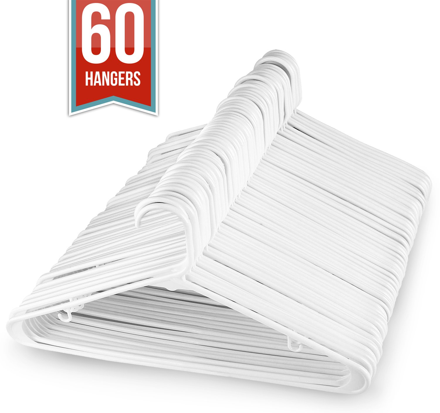 Sharpty White Hangers Plastic for Adults, Plastic Clothes Hangers Ideal for Everyday Standard Use, Clothing Hangers Pack of 60 by Sharpty