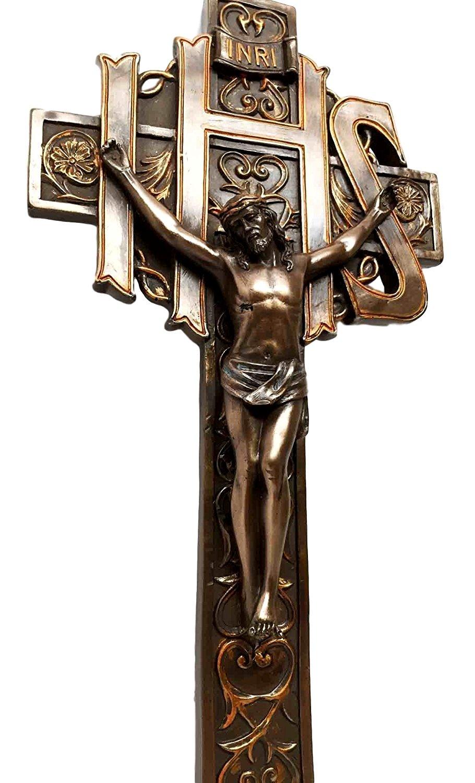 Amazon the ihs crucifix jesus on cross calvary wall plaque amazon the ihs crucifix jesus on cross calvary wall plaque bronzed christian catholic home kitchen biocorpaavc