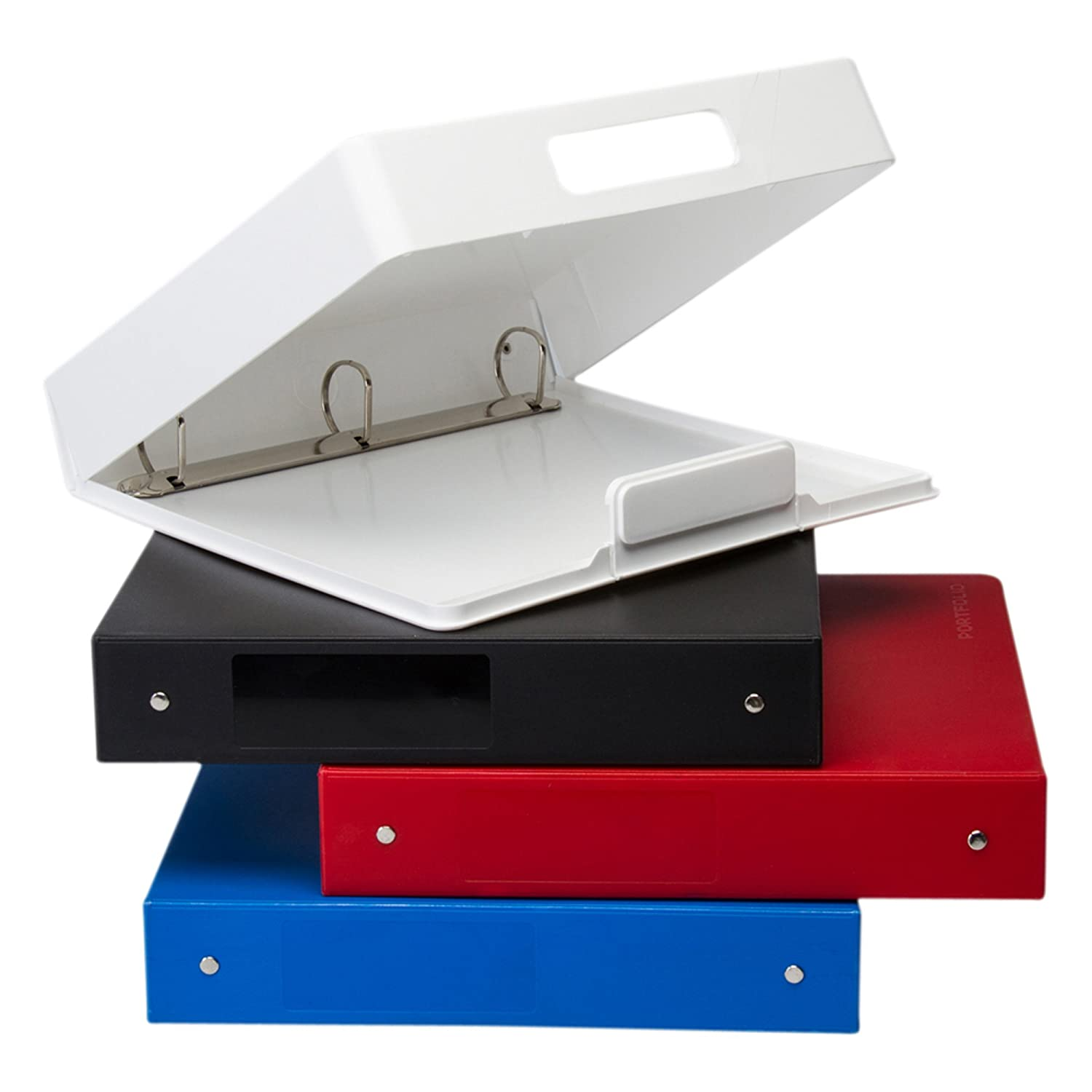 4 Binders, Portfolios heavy duty D-ring, made in Canada, Trimark Media Products