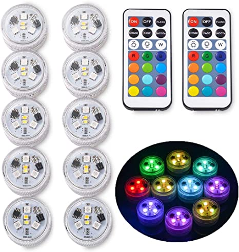 Underwater Submersible LED Lights Remote Control Battery Powered Waterproof Lamp