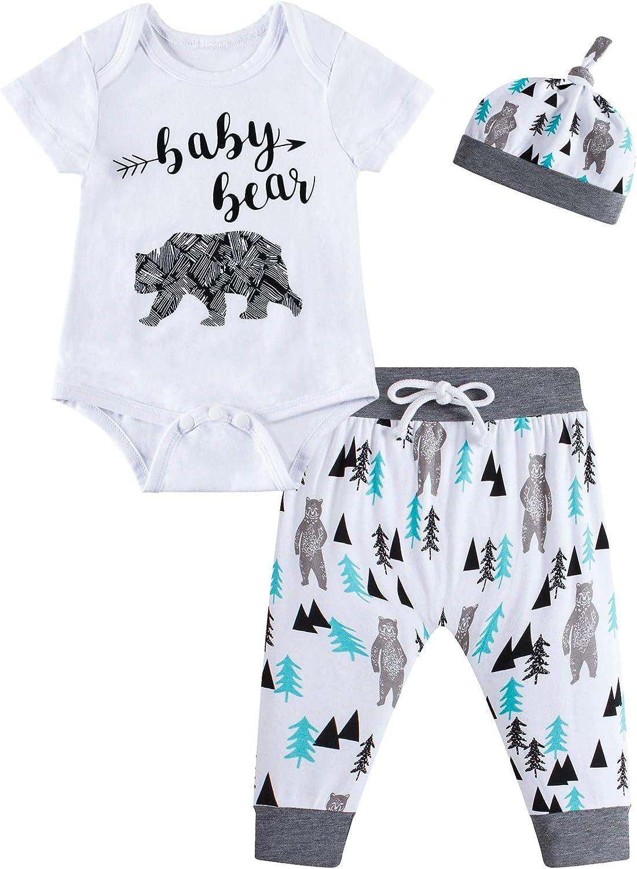 Little Fancy Baby Boys Girls Outfit Set Cute Bear Pants Set