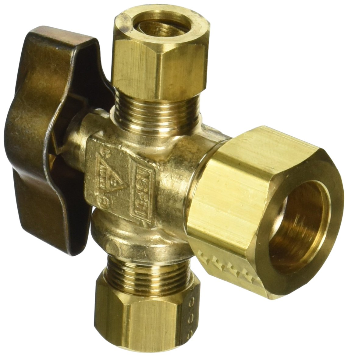 BrassCraft KTCR1901X R1 1/2'' Nominal Compression Inlet x 3/8'' O.D Compression x 3/8'' O.D Compression Dual Outlet 1/4-Turn Ball Valve