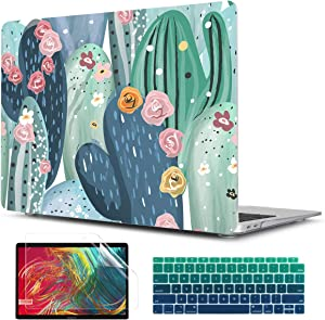 TwoL Cute Cactus Print Hard Shell Case and Gradient Green Keyboard Skin Cover Screen Protector for MacBook Air 13 inch Retina 2018 2019 2020 Model:A1932/A2179