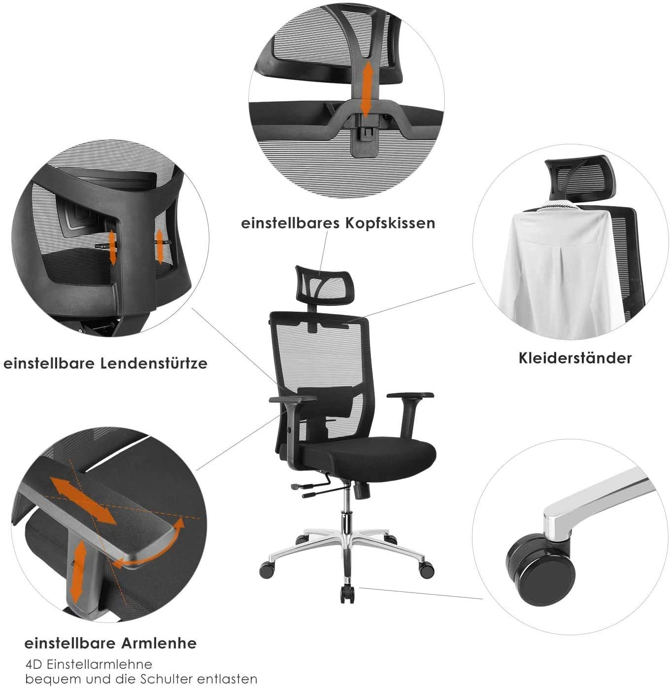 Fixkit Chaise Bureau Ergonomique,Chaise Patron,Accoudoirs,Appui-Tête et Hauteur Réglables, 65 ° Incliné,Rotation à 360 °,Respirant,Confortable et Fiable,Capacité Maximal de 150 KG, Nior