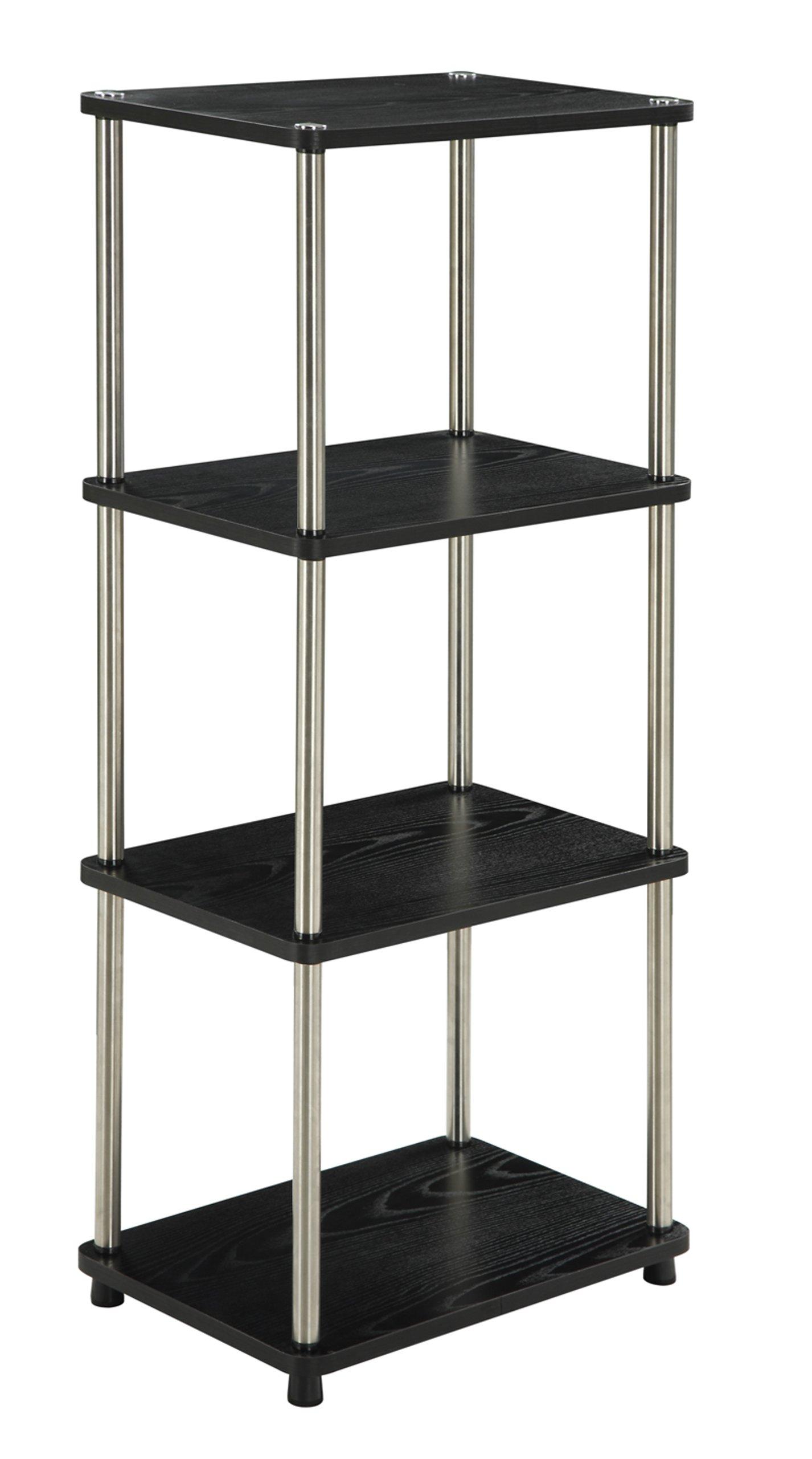 Convenience Concepts Designs2Go 4-Tier Bookshelf/Media Tower, Black