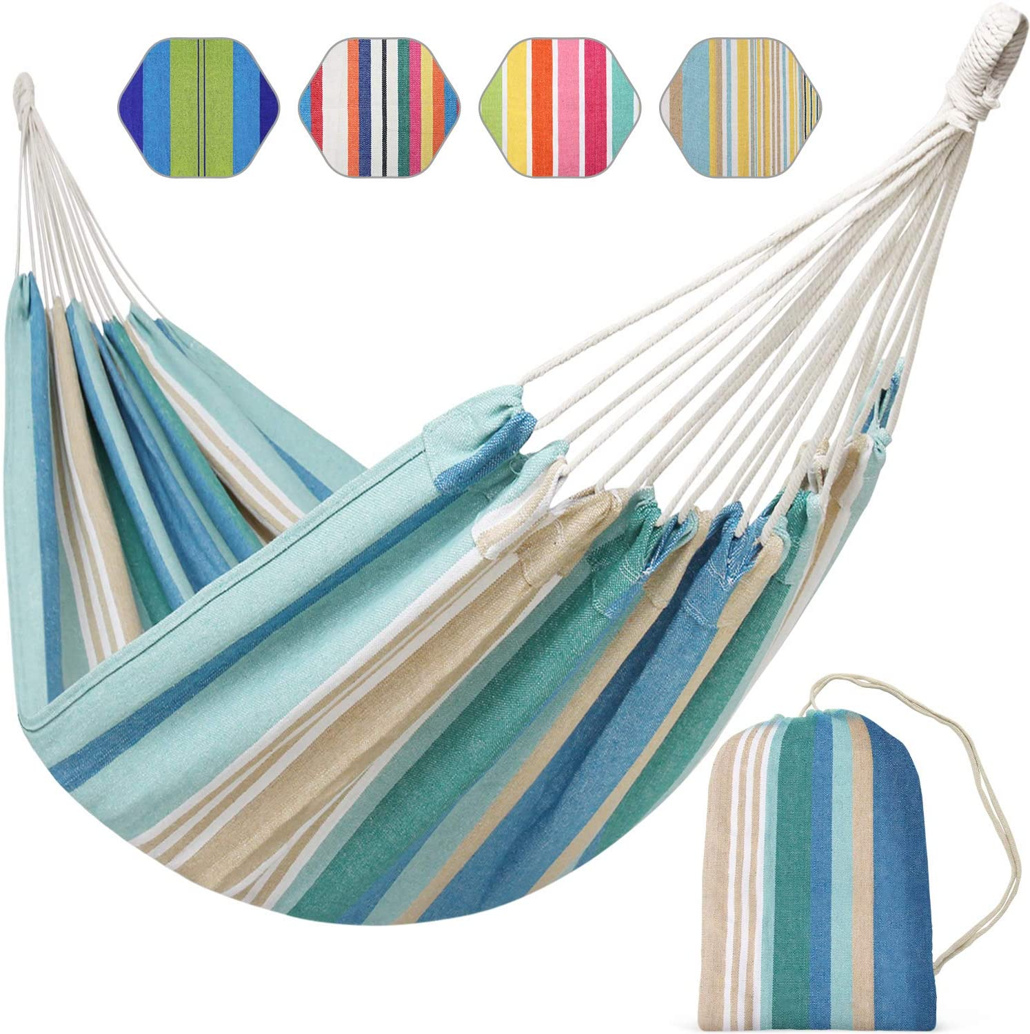 INNO STAGE Brazilian Hammock Canvas Hammock Portable Blue Hammock with Carry Bag for Backyard, Porch, Outdoor and Indoor Use (Blue & Green Stripes): Furniture & Decor