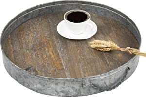 MyGift 17-Inch Round Rustic Galvanized Metal & Distressed Wood Serving Tray