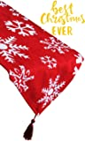 """Christmas Table Runner Red Embroidered White Snowflake for Dining Thanksgiving Cotton Tablecloth for Holiday Make Your Table Shine 13x72"""""""