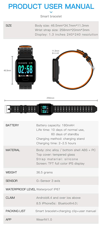 KLAYL Reloj Inteligente A6 Smart Watch Pantalla a Todo Color ...