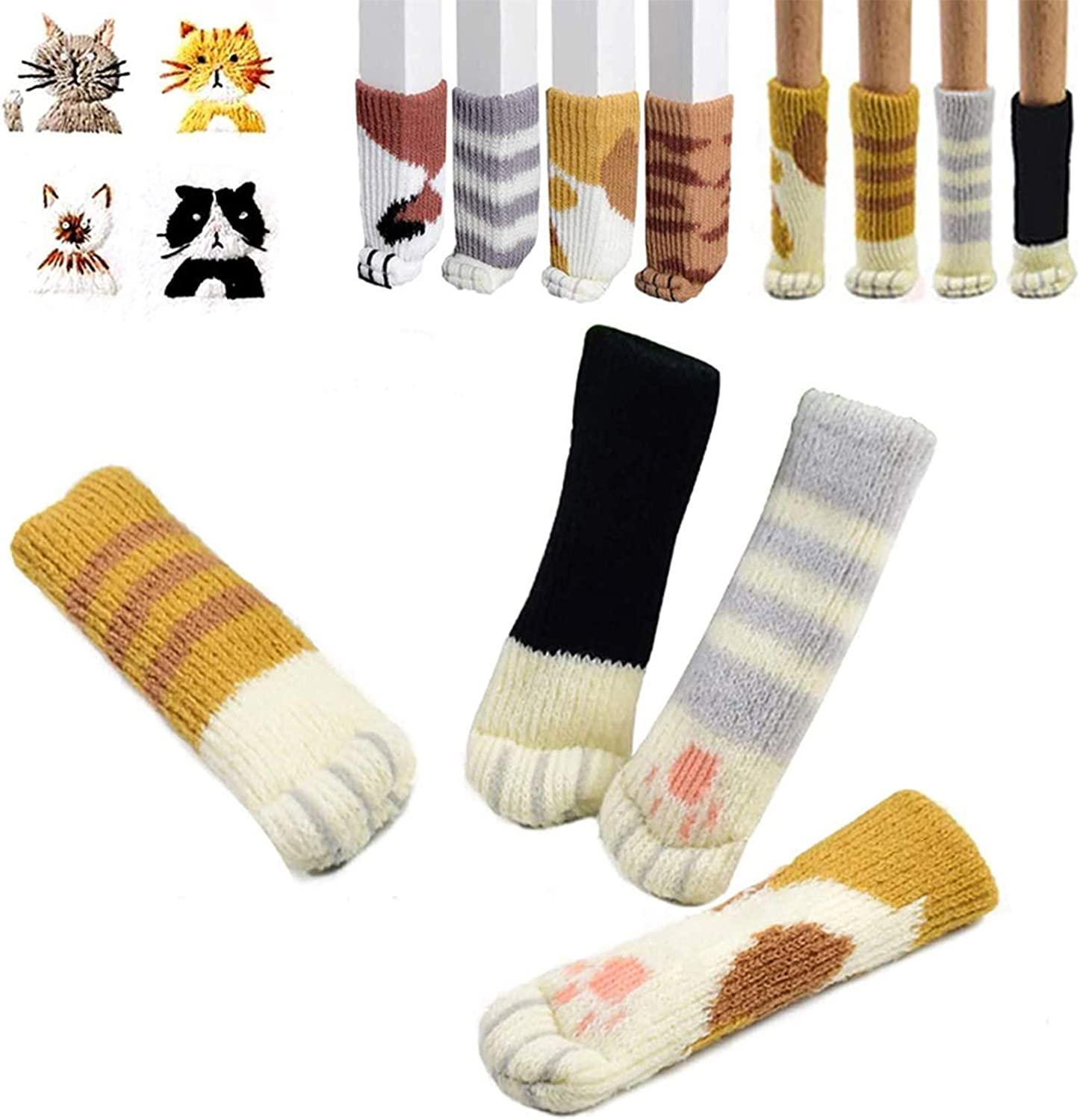 Huinsh 16PCS (4 Sets) Chair Socks Table Leg Pads with Cute Cat Paws Design, Reliable Furniture and Floor Protector, Reduce Noise & Prevent Hardwood Floor from Scratches,Fit Girth 2.4