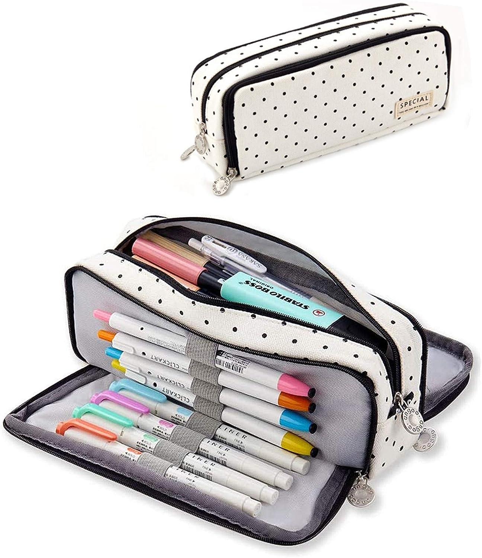 Estuche de lápices con 3 Compartimento para Niños Adolescente,estuche niña,Caja Case con Cremallera de Escolar,estuche niña,Multifuncional Estuche de lápices de Gran Capacidad