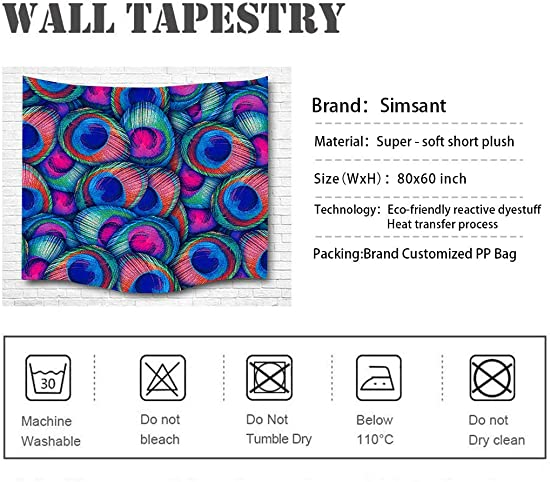 Simsant Psychedelic Feather Colorfully Tapestry Peacock Feather Paint Hippie Graffiti-Art Tapestry Wall Hanging Dorm SIZY0684 80 x60 203x152cm