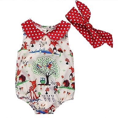 d3d1f6ed0 Amazon.com  Baby Newborn Infant Girl Fox Romper Jumpsuit Headband ...