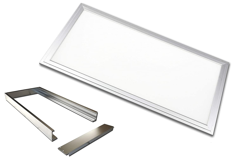 LED Panel 60x30cm 24 Watt TXL© silbereloxiert IP40 (Neutralweiss 4000K, Mit Aufputzrahmen)