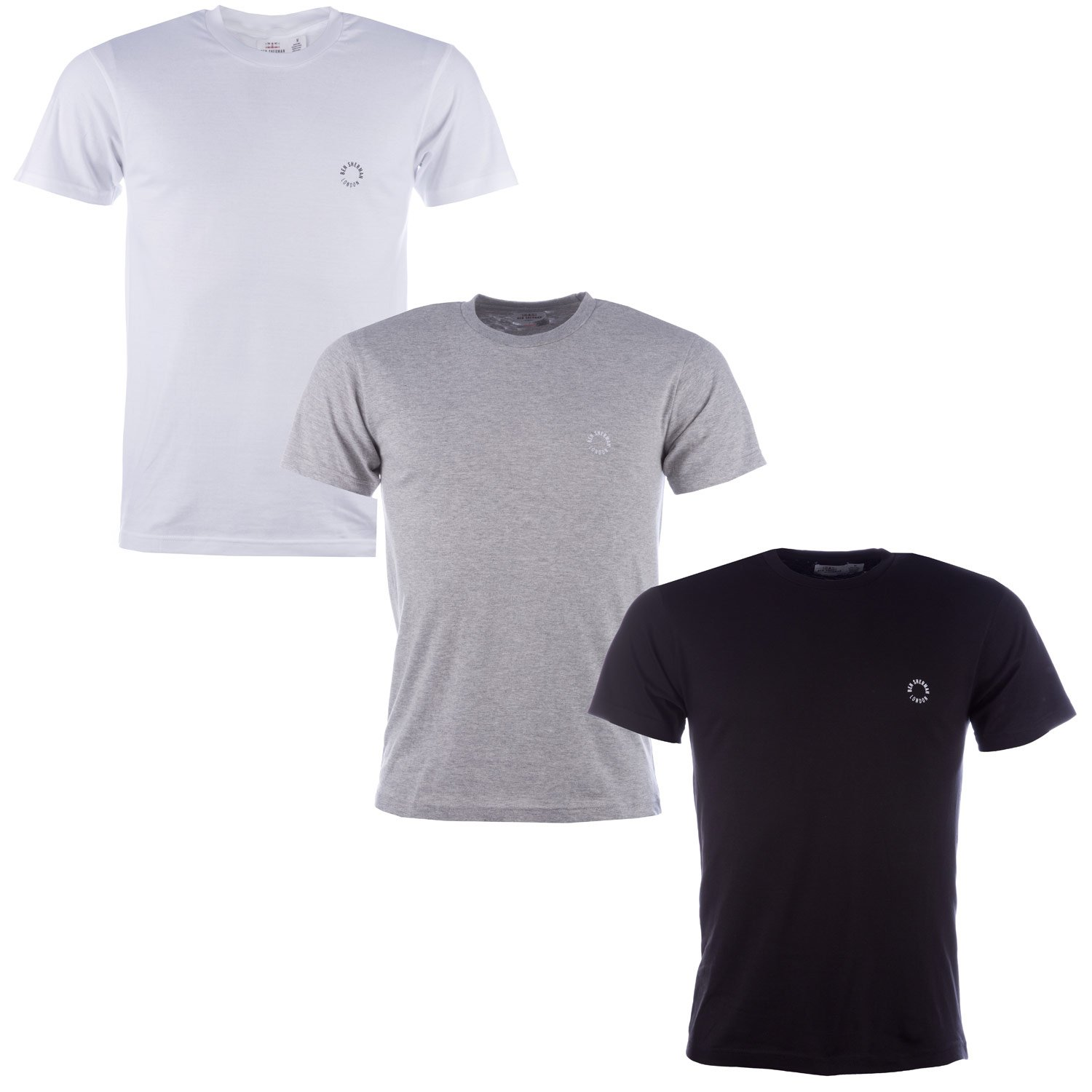 484f5d330932 Ben Sherman Mens Theo 3 Pack T-Shirts in Black Grey White-Comes in Black