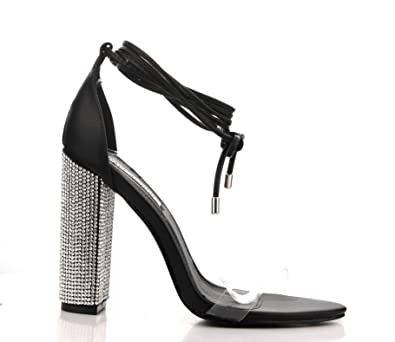 8dd687bd34 Cape Robbin Fiora-1 Black Dress Open Toe Clear Tie Up Embellished Rhinestones  Chunky Heels