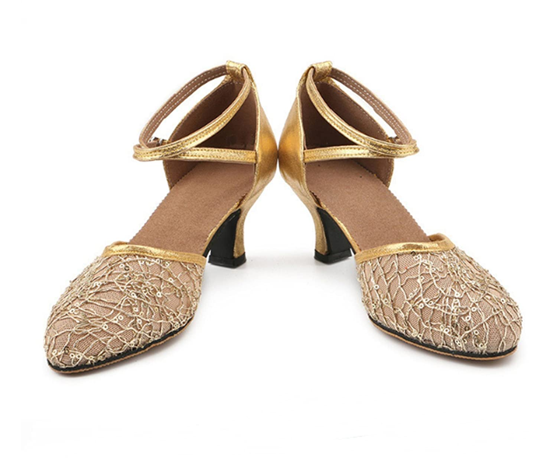 Ruanlei@Standard Ballroom Sala da Ballo Scarpe/scarpe Scarpe/scarpe Scarpe/scarpe da ballo/scarpe da ballo/scarpe latino raso donneSquare Dance Medium con Soft Back Mesh Traspirante, Oro, 36  Golden 6dacb4