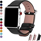 Fullmosa Bracelet Apple Watch 42mm/38mm pour Homme & Femme, Yan iwatch Bracelet en Cuir Pleine Fleur avec Métal Fermoir en Acier Inoxydable pour Apple Watch Series 3/2/1, 42mm, Noir
