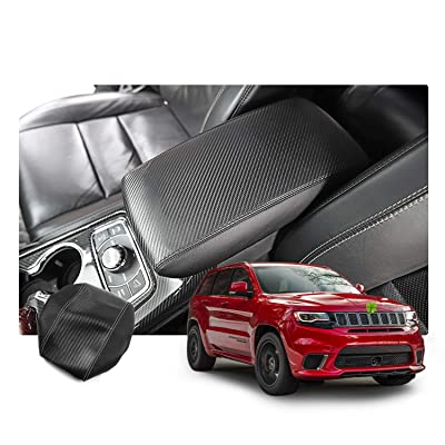 R RUIYA Center Console Rest Pad Cover Customized for 2016-2020 Jeep Grand Cherokee Armrest Box Soft Pad Protector with Carbon Fiber (Without Logo): Automotive