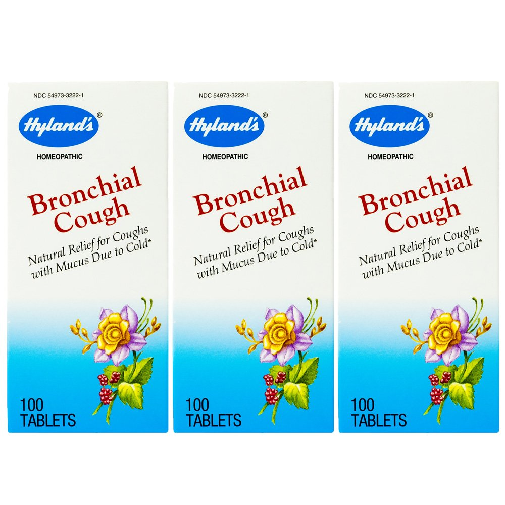Hyland's Bronchial Cough Tablets, Natural Relief of Cough with Mucous Due to Cold, 100 Count (Pack Of 3)
