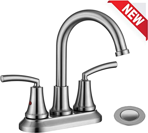 RKF Swivel Spout Two-handle Centerset bathroom faucet Lavatory faucet with pop-up drain with overflow,Brushed Nickel,BF023-BN