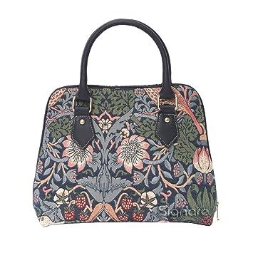 ca67a6c1ee7d8 Mittelgroße Handtasche -Schultertasche für Damen (Erdbeere blau) – im  Gobelin Stil