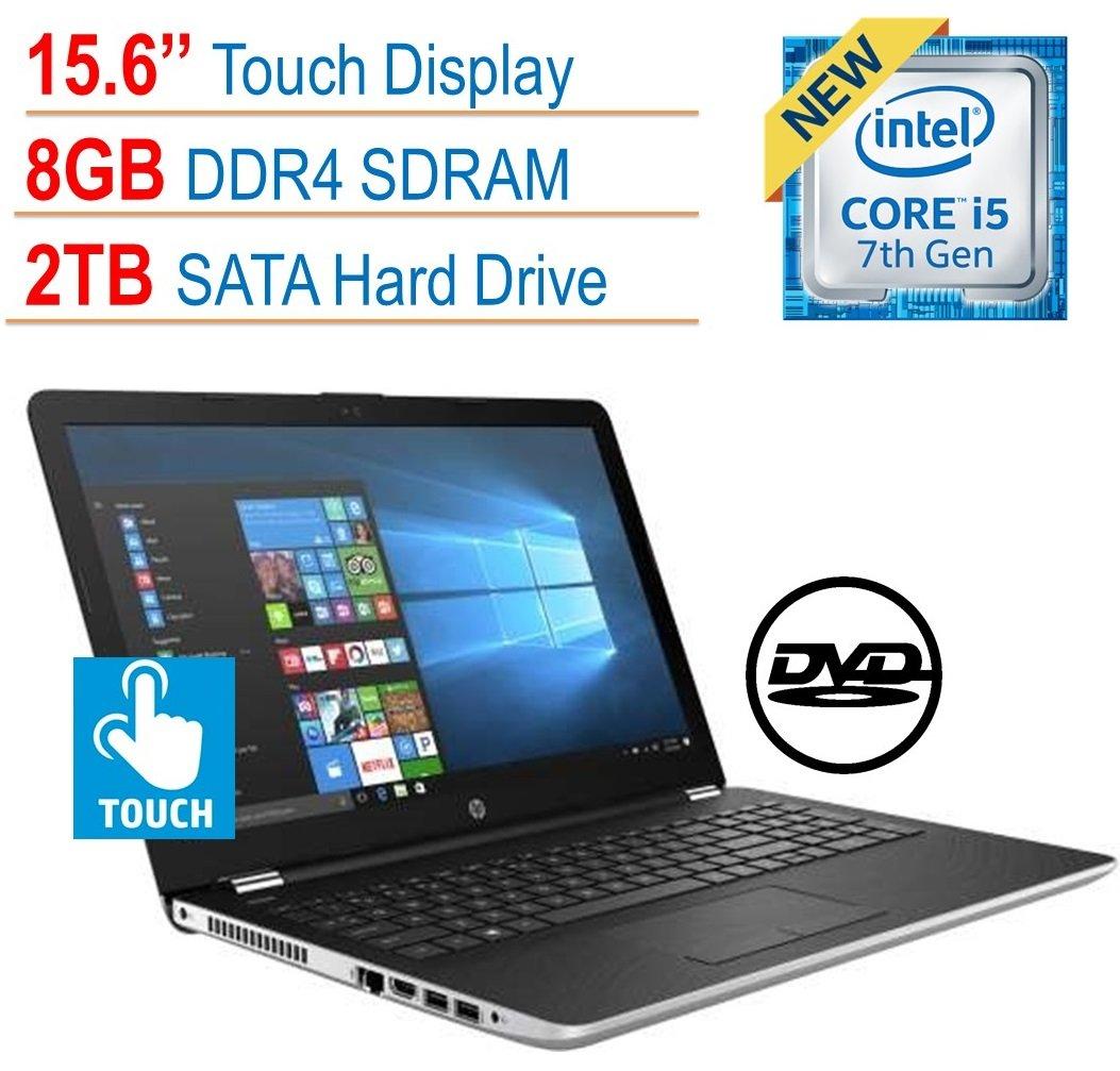 2018 Newest HP 15.6'' Touchscreen Premium Laptop PC, Intel Core i5-7200U, 8GB DDR4, 2TB HDD, Intel HD Graphics 620, 802.11ac, Bluetooth, DVD RW, USB 3.1, HDMI, Webcam, Windows 10 Home, Silver