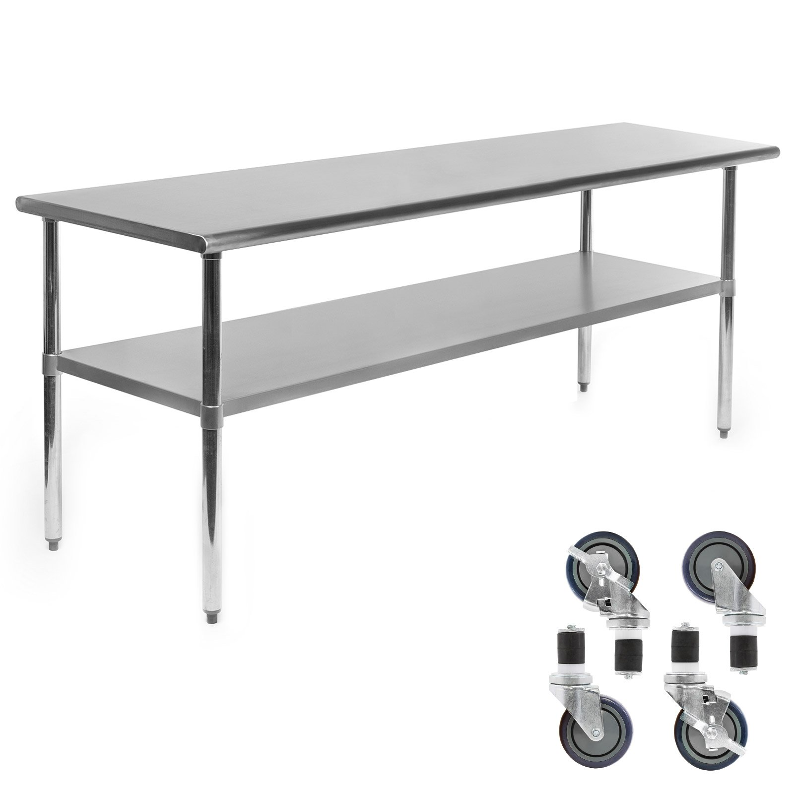Gridmann NSF Stainless Steel Commercial Kitchen Prep & Work Table w/ 4 Casters (Wheels) - 72 in. x 24 in. by Gridmann (Image #2)