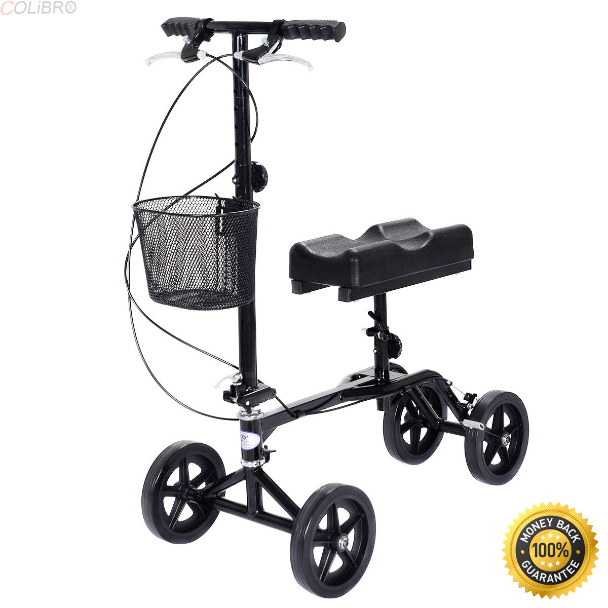 COLIBROX--New Steerable Foldable Knee Walker Scooter Turning Brake Basket Drive Cart Black,best knee walker,knee walker central,drive knee scooter,best rated knee scooter 2017,knee scooter